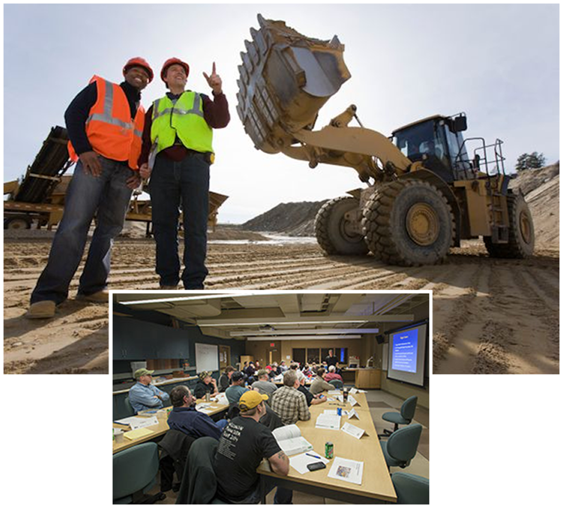 photo of a loader and a group of employees in a safety training seminar